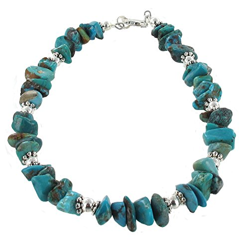 Womens Turquoise & Sterling Silver Ladies Beaded Gemstone Anklet with Daisies - 10