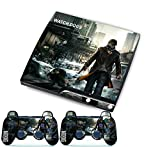 Watch Dogs for PlayStation 3 PS3 Slim + 2 Controller Skins Awsome Custom Stickers Skins