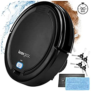 Knox Robot Vacuum Cleaner with Mopping Cloth - Dual Rotating Brushes for Hardwood Floors, Tiles, Pet Hair - Smart Anti Fall Sensor, 90 Minute Run Time - 2 x Bonus Side Brushes and 2 x Filters