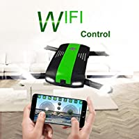 ZZSYU 2.4G 6-Axis Altitude Hold HD Camera WIFI FPV RC Quadcopter Drone Selfie Foldabl (Green)