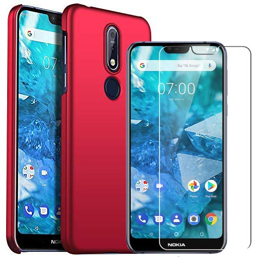 huge selection of 01a09 b1cec Nokia 7.1 case with Nokia 7.1 Screen Protector, MYLB-US [2 in 1]  [Anti-Drop] Premium Slim case Phone case Back Cover for Nokia 7.1 (Red)