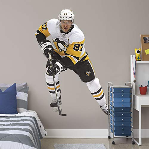 FATHEAD NHL Pittsburgh Penguins Sidney Crosby Officially Licensed Sidney Crosby Removeable Wall Decal, Multicolor, Life-Size ()