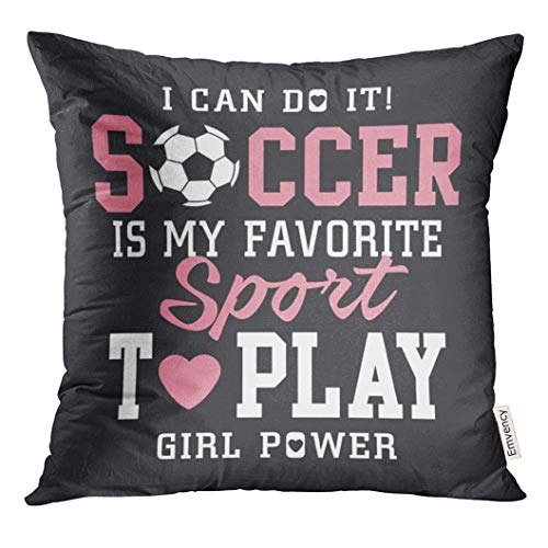 (Golee Throw Pillow Cover Pink Sport Soccer Football Girl Tee Graphics Vectors Team Academy Decorative Pillow Case Home Decor Square 20x20 Inches Pillowcase)