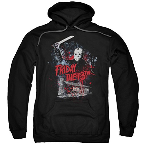 Friday the 13th Jason Attacks Cabin Hoodie, Black, -