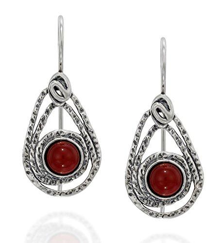 Teardrop 925 Sterling Silver Earrings with Carnelian Gemstone and Secure Backs Elegant Women's Jewelry Carnelian Gemstone Ring