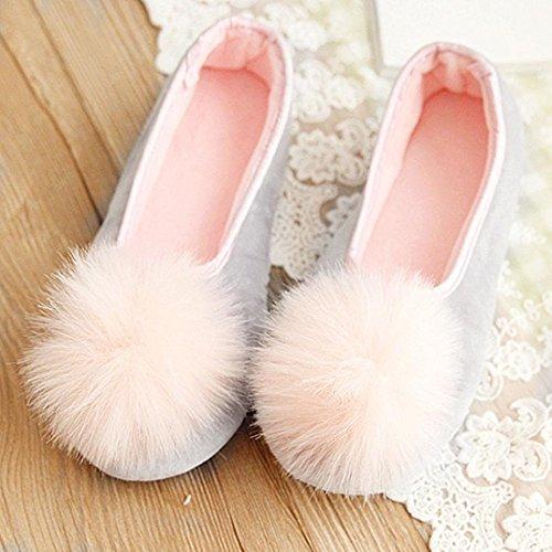 Amiley Frauen Casual Cute Pom Pom Slip-on Haus Hausschuhe Wohnungen Anti-Rutsch-Schuhe Grau