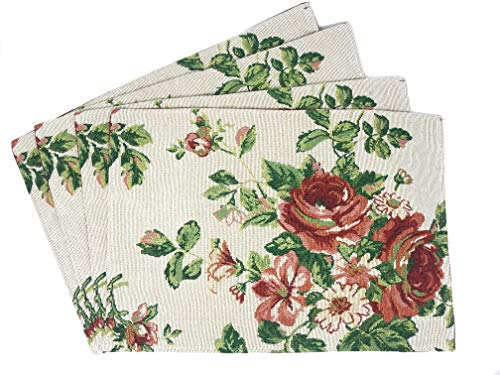 Tache Sweet Roses Spring Summer Traditional Country Vintage White Red Floral Decorative Kitchen Dining Woven Quilted Tapestry Placemats, 13x19
