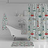 iPrint Bathroom 4 Piece Set Shower Curtain Floor mat Bath Towel 3D Print,Lighthouses Message in Bottles Steamboats Sailboats,Fashion Personality Customization adds Color to Your Bathroom.
