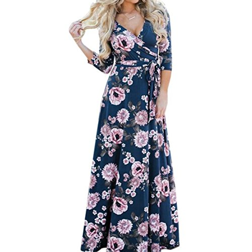 for Blue Sleeve 3 Sexy Lady Dress Print Maxi Women 4 Neck Beach Fashion V Long Hipsters Linaking Dress Floral W85ZqvwUxU