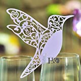 H&D 60pcs Laser Cut Bird Shape Wedding Party Name Setting Place Cards for Wine Glass (liac) offers