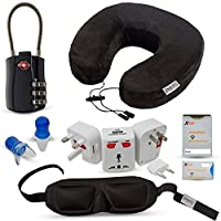 Travel and Flying Comfort Kit, Includes Memory Foam Neck Pillow, International Adapter with USB, Eye Mask, Noise Canceling Ear plugs(reusable), TSA Approved Luggage Lock, RFID Identity Fraud Protector