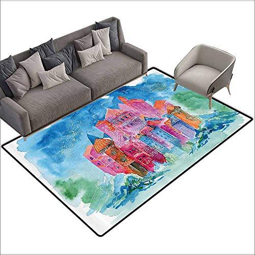 - Bathroom Carpet Fantasy,Medieval Castle in Vivid Watercolor Art Fairytale Style Modern Image,Blue Orange Fuchsia Teal 36