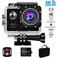 Action Camera, Evaline Action camera 4K WiFi Ultra HD Waterproof Sports Camera 1080P 12MP 2 Inch LCD Screen 170 Degree Wide Angle Sport Video Cam Includes Portable Package and Accessories Kits - Black