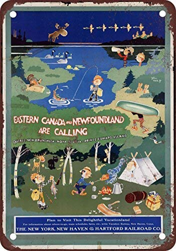 1926 New Haven Railroad Eastern Canada Vintage Look Reproduction Novelty Metal Sign for Home Decor Tin Sign for Man Women -