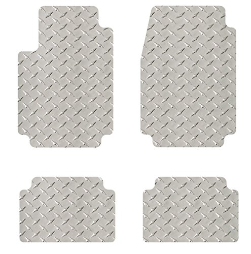 Intro-Tech Diamond Plate First and Second Row Custom Fit Floor Mat for Select Ford Mustang Models - Simulated Aluminum (Chrome)