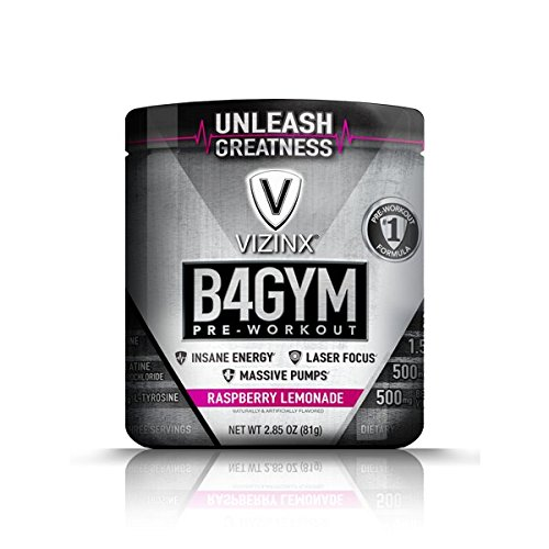 VIZINX B4GYM Pre-Workout, Raspberry Lemonade - 3 Serving Trial Size - Advanced Formula with Effective Doses of Citrulline Malate, Agmatine, Beta Alanine, plus a BCAA Post Recovery Matrix