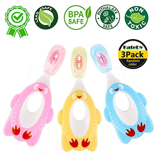 3 Pack Baby Toothbrush for 1 Year Up Infant Toddler,Baby Care Soft Bristle BPA Free Tooth Brush Kids Training Teether Toys,Children's Early Learning Clean Teeth Set by KateDy(Various Colors)