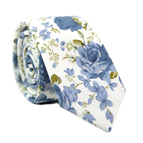 DAZI Men's Skinny Tie Floral Print Cotton Necktie, Great for Weddings, Groom, Groomsmen, Missions, Dances, Gifts. ()