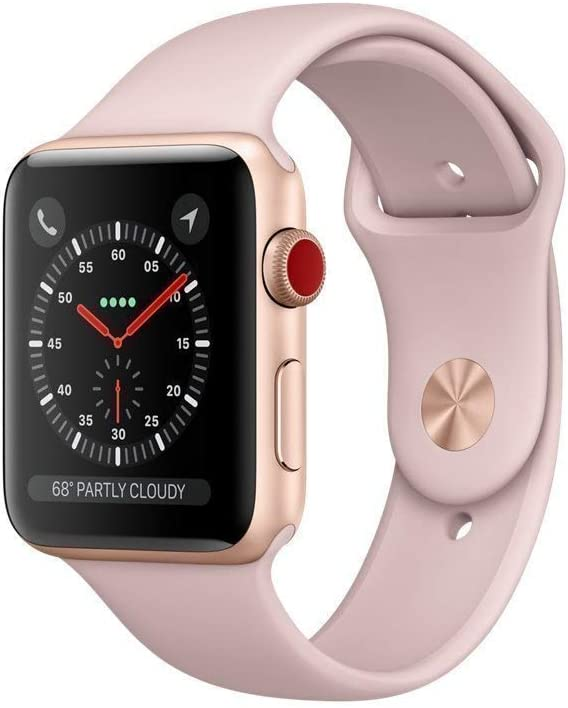 Apple Watch Series 3 (GPS + Cellular, 38MM) - Gold Aluminum Case with Pink Sand Sport Band (Renewed)