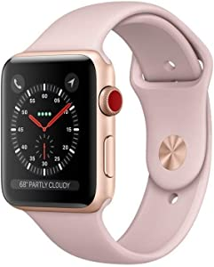 Apple Watch Series 3 (GPS + Cellular, 42MM) - Gold Aluminum Case with Pink Sand Sport Band (Renewed)