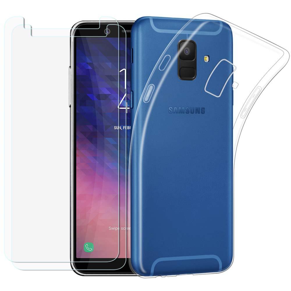 Kany Samsung Galaxy A6 Hü lle + Panzerglas, [2 Stü ck] Samsung Galaxy A6 Gehä rtetes Glas Schutzfolie und 1 Stü ck Transparent Silikon TPU Schutzhü lle fü r Samsung Galaxy A6 2018 DS-genVT-A6