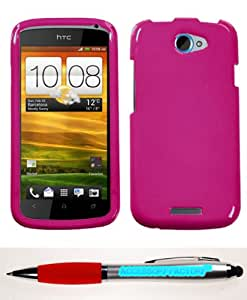 Accessory Factory(TM) Bundle (Phone Case, 2in1 Stylus Point Pen) HTC One S Solid Hot Pink Phone Protector Cover