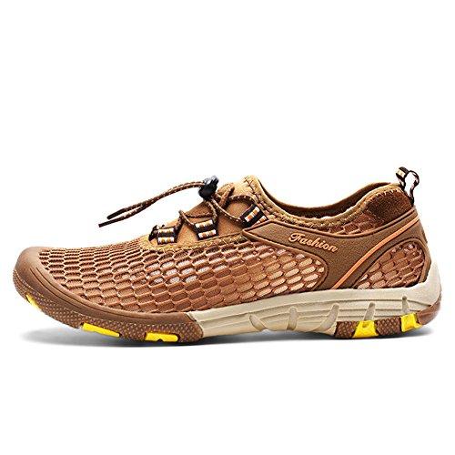 ailishabroy Las zapatillas de deporte de los hombres atan para arriba los zapatos corrientes respirables del deporte de la malla Caqui