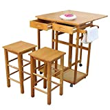 U-smile Dining Cart with stools and Tableware Storage Organizer