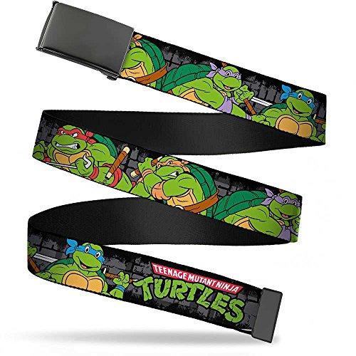 - Buckle-Down Big Web Belt Ninja Turtles, Classic Tmnt Group Pose4 in Sewer/Tmnt Logo, 1.0