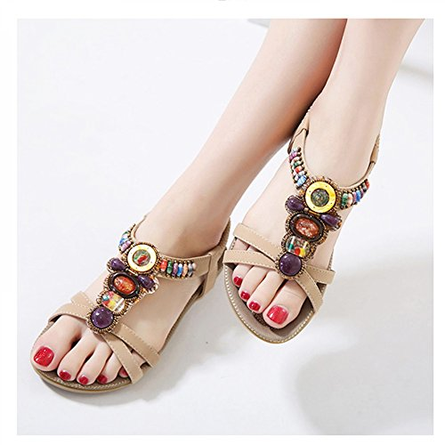 Peep Playa zapatos toe Xing Diamantes Imitación Mujer De Boho Bei Plano 38 beige Mujer Bao Para Firm zapatos Sandalias size sandalias Verano Tacón zapatillas SfCYOwq