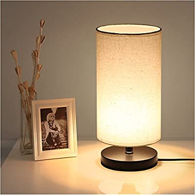 Minimalist Table Lamp with 7W 3000K LED Bulb, Bedside Lamp, Nightstand Lamp with Solid Wood Base and Fabric Shade for Bedroom, Living Room, Dresser, Kids Room, Study, Coffee Table, Bookcase (Round)