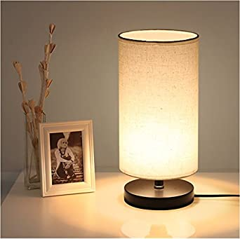 DEEPLITE Table Lamp With Fabric Shade Wooden Base Bedside Desk Night Light For Bedroom