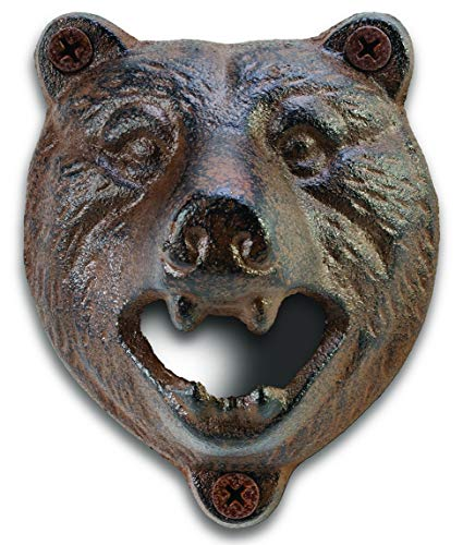 Trophy Animal Bottle Opener – Cast Iron Bar Wall Mount Beer Or Soda Opener Bar Décor With Mounting Screws (Bear)