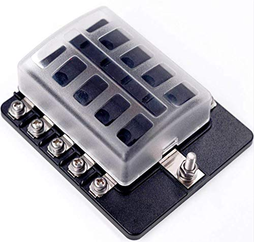 DCFlat 6/8/10/12-Way Fuse Block-ATC/ATO Fuse Box With Ground, LED Light Indication & Protection Cover, Bolt Connect Terminals, Stick Label, For Car Boat Marine Aut (6/8 / 10/12 -Way Fuse, 10-Way)