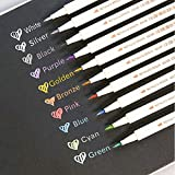 10pcs Vibrant Metallic Marker Pens, Colorful Marker Pens, 10 Colors Tipe Metallic Permanent Marker Pens for Rocks, Glasses, Art Rock Painting Wood Metal and Ceramic (Soft Head)