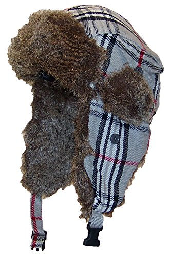Best Winter Hats Adult Plaid Russian/Trooper W/Soft Faux Fur Hat (One Size) - Gray