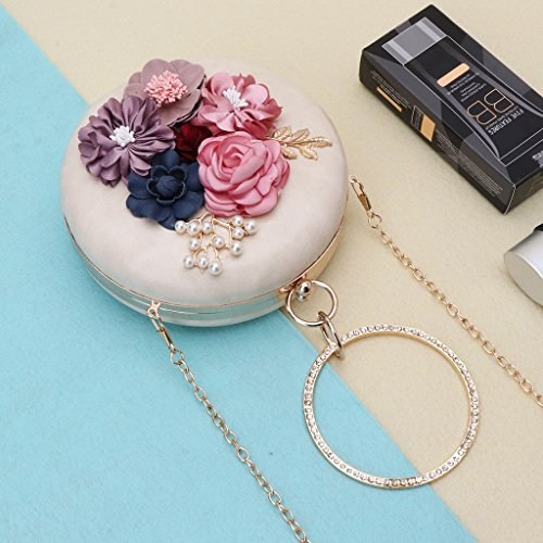 Party Clutch Evening Cosmetic Women Bag Handbag Purse Round Dinner Nankod Flower Wedding Bag Shoulder White Chic qzgIwwf0