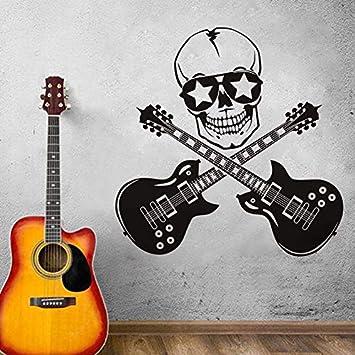 Cool Skull Y Guitarra Pegatinas de Pared de Vinilo Rock Estilo ...