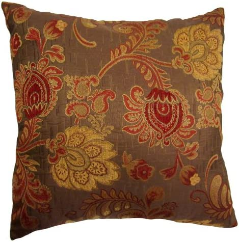 22×22 Burgundy and Gold Floral Brocade Decorative Throw Pillow Cover Reino Collection