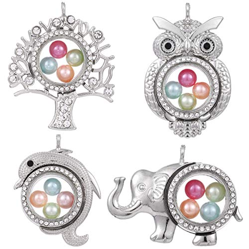 4pcs Mixed Wise Owl Elephant Living Memory Floating Locket Charms Glass Pearl Cage Pendants - for Pearl Shows DIY Jewelry Making Fun Gifts (Style-1)
