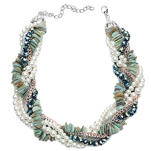 Mediterranean style Simulated Pearl with Acrylic Necklace Cluster Choker Beads Chain For Women