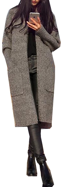 Binn Women Fashion Korean Cardigan Mid-length Thick Knitted Coat