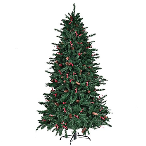 6FT Artificial Christmas Tree With Pine Cones Red Berries 1388 PCS PVC Tips Pre-Attached Hinged Branches For Easy Set Up Foldable Metal Tree Stand Indoor Outdoor Holiday Season Eco-Friendly Material by HPW