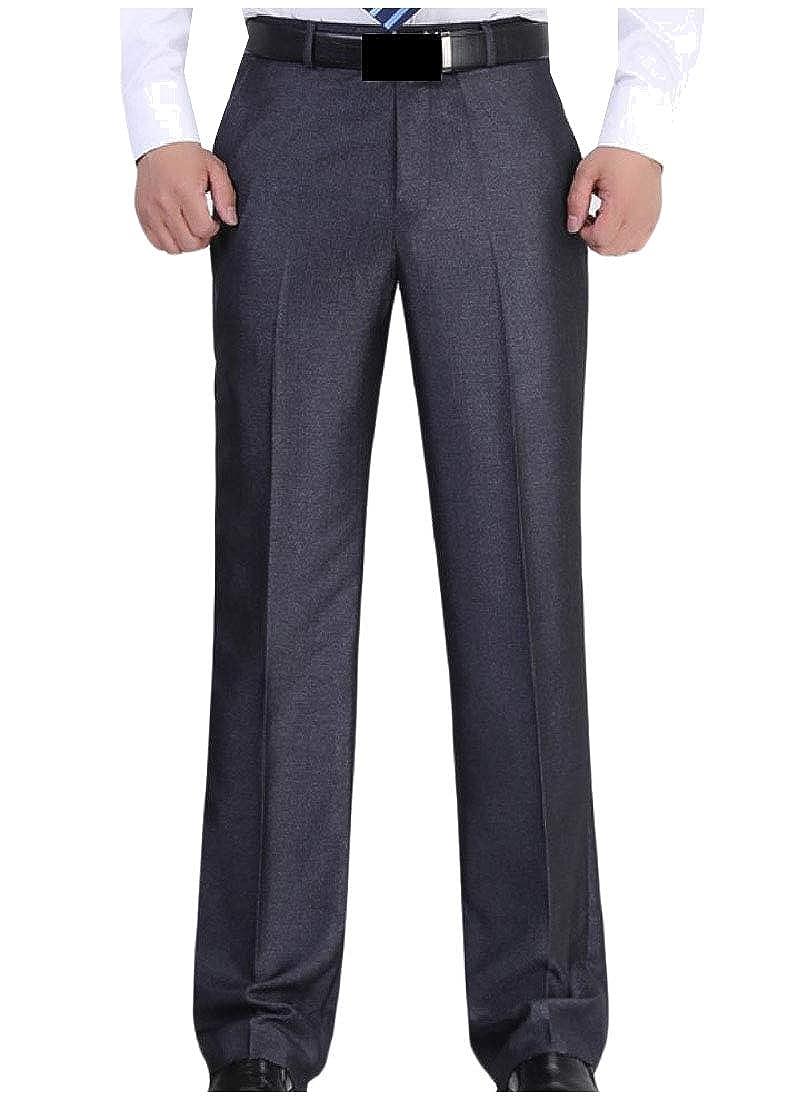 YUNY Mens Casual Big and Tall Pocket Solid Business Plain-Front Pant Grey 29