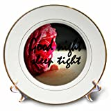 3dRose RinaPiro - Sex Quotes - Good night. Sleep tight. Romantic red rose. - 8 inch Porcelain Plate (cp_261468_1)