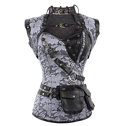 FeelinGirl Women's Cool Warrior Design Steel Boned Brocade Vintage Steampunk Bustiers Corsets Costumes Size S (Cosplay Steampunk Costumes)