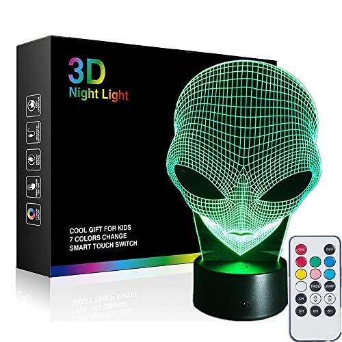 Martian Alien 3D Illusion Night Light Beside Table Lamp, Remote 7 Colors Table Desk Lamps Halloween Xmas Decor Light for Baby Toddler -