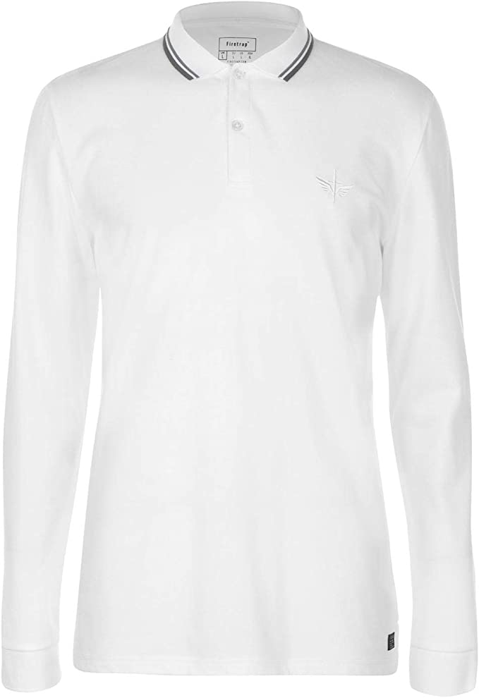 Firetrap Hombre Lazer Camiseta Polo Manga Larga Blanco XXL: Amazon ...