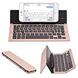 Lucky2Buy Foldable Portable Bluetooth Wireless Keyboard with Kickstand Holder For iPhone, iPad, Andriod Smartphone and Windows Tablet - Rose Gold