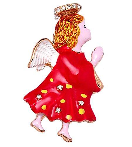 - Fashion Jewelry ~ Crystal Stud Handpaint Red Praying Angel Brooch Pin